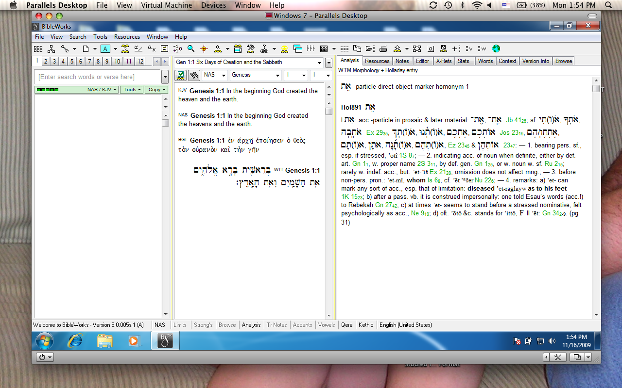 BibleWorks 8 as a Window on My Mac
